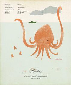 Limited Edition Kraken Giant Squid Species Large Print.