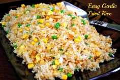 No need to throw left-over rice when you can make this easy and tasty fried rice. #easy #garlic #fried #rice