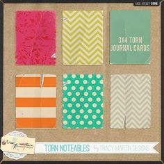 Torn Noteables journal cards freebie from Tracy Martin Designs