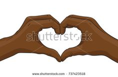 Vector illustration of black afro hands  showing heart shape gesture, Love and friendship concept, Illustration in colored sketch style isolated on white background
