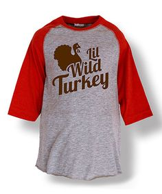 Loving this Athletic Heather & Red Turkey Raglan Tee - Toddler & Girls on #zulily! #zulilyfinds