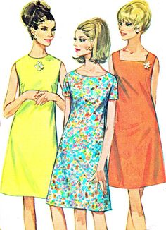 This is the pattern we used in Home Ec in the 8th grade!  1960s Dress Pattern Simplicity 7120 Round or Square Neck Mod A Line Dress Womens Vintage Sewing Pattern Bust 38 Uncut