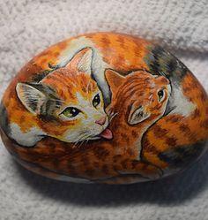 Cat Mother and Kitten Rock Painting - Bojen & Sam's Art & Creativity | Cats