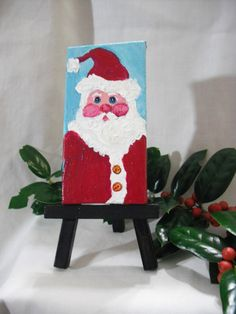 Santa Claus painting on Canvas with Easel 2 x 4 by SharonFosterArt, $22.00