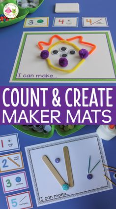 Preschool STEAM activities, counting activities, fine motor activities and open-ended art activities.  Use the numbered cards to determine how many materials to use,  count the materials, and use them  in a design.  Add play dough for 3-dimensional fun.  Many opportunities for fine motor practice.  Math center, math work station, maker space, art center, or fine motor centers in preschool and pre-k STEM