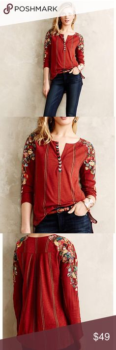 "Anthropologie  Embroidered Top Tiny brand, known for their beautiful embroidery. This shirt is gorgeous with embroidery adorning the sleeves and bust line.  27"" in length, back is slightly longer than the front. Rayon and cotton ✌️ Anthropologie Tops"
