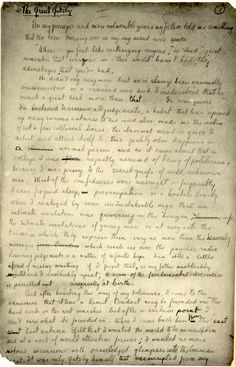 """The original Gatsby manuscript.  """"In his blue gardens men and girls came and went like moths among the whisperings and the champagne and the stars."""" ~ F. Scott Fitzgerald, The Great Gatsby"""