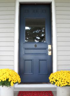 Hale Navy, BM; A front door makeover with  classic navy blue paint.