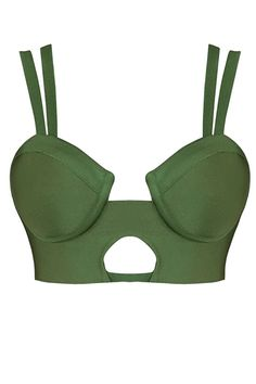 Honey Couture Khaki Green Bustier Bandage Bralette Top