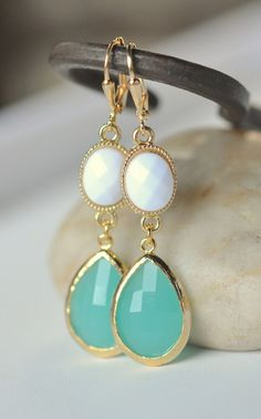 Large Turquoise Teardrop and White Oval Dangle