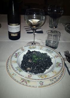 Italian Dinner: rice with squid ink and good wine