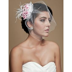 Gorgeous+Feather+With+Pink+Flowers+Tulle+Wedding+Bridal+Headpiece+–+USD+$+5.99