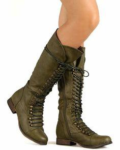 Fashion Bug Shoes Leatherette Lace Up Millitary Knee High Boot - Military Green. www.fashionbug.us #FashionBug