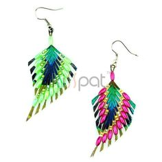 Unique Beading Designed Peacock Earrings Hot Pink/Light Green - KissPat Feather Store