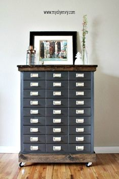 Kitchen Cabinet : Question and Answer Painting Metal Cabinets. Painting Old Metal Filing Cabinets. Painting Metal Cabinets With Rustoleum. Industrial Farmhouse, Industrial Furniture, Vintage Industrial, Farmhouse Style, Farmhouse Decor, Industrial Living, Industrial Office, Industrial Stairs, Industrial Closet
