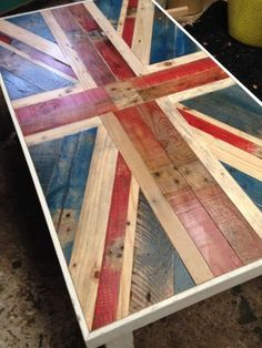 Reclaimed timber and pallet wood Union Jack by BeauConcept - Couchtisch ideen Fire Pit Furniture, Wooden Pallet Furniture, Rustic Furniture, Wood Pallets, Diy Furniture, Pallet Wood, Garden Furniture, Buy Pallets, Furniture Plans