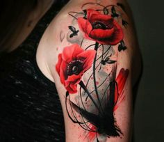 Wild Poppy Flowers tattoo by Michael Taguet Perfect black and red watercolor tattoo style of Wild Poppy Flowers motive done by tattoo artist Michael Cloutier Flower Tattoo On Side, Flower Tattoo Shoulder, Diy Tattoo, Tattoo Art, Tattoo Ideas, Red Tattoos, Cool Tattoos, Tattoos For Women Small, Small Tattoos