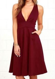 Wine Red Plain Draped Plunging Neckline Fashion Polyester Midi Dress