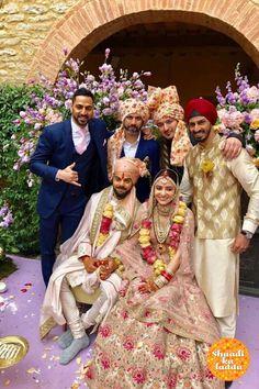 Anushka Sharma and Virat Kohli Wedding Wear - Bollywood Wedding Anushka Sharma And Virat, Virat Kohli And Anushka, Wedding Wear, Wedding Pics, Wedding Attire, Wedding Couples, Wedding Ceremony, Wedding Dresses, Garland Wedding