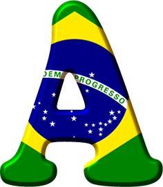 Alfabeto Decorativo: Alfabeto - Bandeira do Brasil - PNG