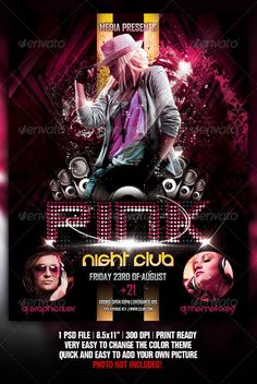 night club concert party flyer poster template