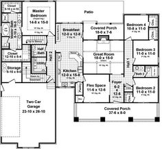 use the front of house for more kitchen and living space. Plan Level Floorplan 3 Bedrooms on one side, Flex Space, Master suite, 2 car. Walk-in Pantry. Craftsman Style House Plans, Cottage House Plans, Country House Plans, Cottage Homes, Four Bedroom House Plans, Craftsman Cottage, House Plans One Story, Dream House Plans, House Floor Plans