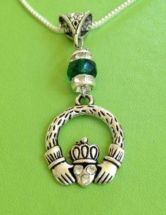 Irish Claddagh and Crystal Necklace by joytoyou41 on Etsy, $28.00