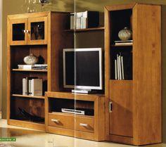 Composicion modular nº 4: Composición modular compuesta por: 1.-Módulo 2 puertas cristal con estantes 152x100x37 cm. 1 -Módulo 1 puerta con estantes 152x50x37cm. 1- Módulo TV de 1 hueco y 1 cajón de 50x100x50 cm. 1.- Estantes de pared de 100x20x18 cm. Está fabricada en madera maciza alistonada de pino. Barnizadas en color cerezo. Se sirve en Kit de muy fácil montaje y con instrucciones claras.
