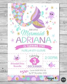 details about little mermaid invitations invite first birthday party supplies pool ocean Ideas 2019 - Cards 2000 ~ Invitations Ideas First Birthday Party Supplies, First Birthday Parties, Birthday Party Invitations, First Birthdays, 4th Birthday, Birthday Ideas, Shower Invitations, Mermaid Theme Birthday, Little Mermaid Birthday