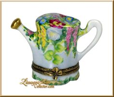 Watering Can w Floral Design (Retired) Limoges Box.