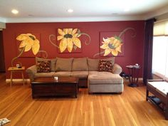 Living room with wall art and hardwood floors