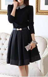 $15.46 Sweet Peter Pan Collar Belted Long Sleeves Thickened Fleece Lined Waisted Blended Pleated Dress