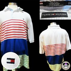 Tommy Hilfiger XXL Polo Shirt Striped Rainbow 2XL Bug Rugby Casual Color Block #TommyHilfiger #PoloRugby #prep #stripes #preppy