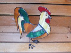 Stained Glass Rooster Rustic 3D StandUp by FleetingStillness, $89.99