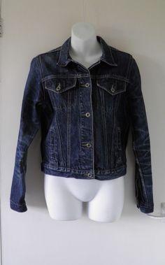 VTG 90s JUST JEANS Indigo Fade Denim Jacket Coat Grunge Indie Women Ladies 10 12   01.22