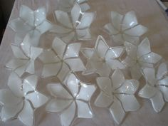 """Vintage large lot of 12 BOBECHES flower glass 5"""" in diameter"""