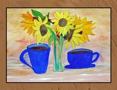 Morning call sunflower and coffee art area rug art indoor/ outdoor floor mat.   Available in 4 sizes. Great for home,bar, office, boat,condo,office  My art is permanently pressed on this mat by the dye sublimation process. Gently hand wash with a soft brush or cloth.