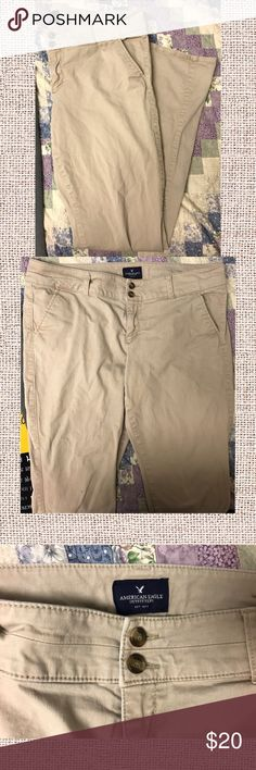 AE Skinny Khaki Trousers Skinny khaki trousers from American Eagle. Size 14 long. Some damage, seen in third and forth pic. Can be worn as is or fixed. American Eagle Outfitters Pants Skinny