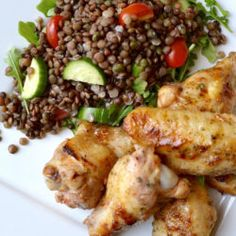 Spicy Chicken Wingettes and Lentil Arugula Salad Recipe For Spicy Chicken lb. mirin (mirin (sweet sake for cooking))½ Chicken Bacon Ranch Pasta, Ranch Chicken Recipes, Chicken Recipes Video, Breaded Chicken, Hasselback Chicken, Chicken Cutlets, Crusted Chicken, Crispy Chicken, Chicken Tenders