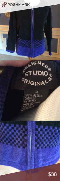Designer Studio Original Velour Jacket Gorgeous purple & black zip up velour jacket. Freshly cleaned & in perfect condition. Very sophisticated Designer Studio Original Jackets & Coats