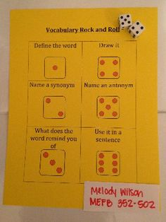 Vocabulary Rock Roll: In pairs or small group the students can play a vocabulary game with any word list. Have them roll one dice and do the task indicated by the worksheet. USE GIANT DICE? Vocabulary Instruction, Teaching Vocabulary, Vocabulary Activities, Student Teaching, Teaching Reading, Teaching Tools, Vocabulary Strategies, Academic Vocabulary, Listening Activities