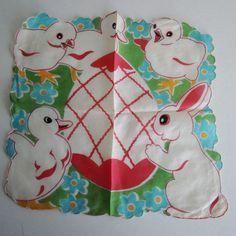 Vintage 40s Childs Easter Handkerchief Hankie Chicks, Ducks, Bunny, Easter Egg