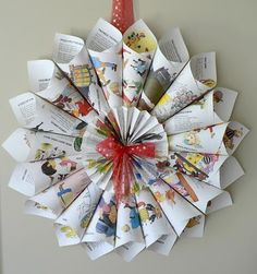 Nursery rhyme wreath.  Need to do with with Golden Books that are beyond repair.