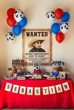 Western Cowboy Party Wild West Cowboy Themed First Birthday Party - was a great dessert table!Wild West Cowboy Themed First Birthday Party - was a great dessert table! Rodeo Party, Rodeo Birthday Parties, Cowboy First Birthday, Cowboy Theme Party, Horse Birthday, Farm Birthday, Birthday Ideas, Country Birthday Party, First Birthday Party Themes