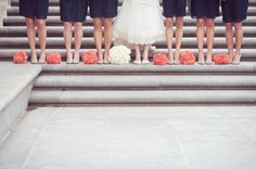 A Happy Navy Blue & Coral Wedding at Fountain Square Theater in Indianapolis - Fab You Bliss Blue Coral Weddings, Blue Wedding, Wedding Colors, Dream Wedding, Orange Weddings, Wedding Flowers, Fountain Square, Coral Blue, Coral Color