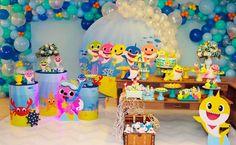 Festa Baby Shark: 70 ideias e tutoriais para uma decoração animal Boys 1st Birthday Party Ideas, Joint Birthday Parties, 1st Birthday Party Decorations, 1st Boy Birthday, Diy Birthday, Baby Hai, Shark Party Decorations, Shark Cake, Balloon Ideas
