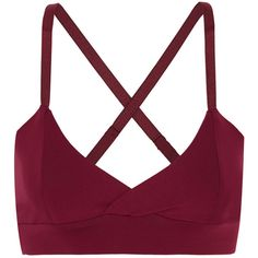 Live The Process V wrap-effect stretch-Supplex® sports bra ($115) ❤ liked on Polyvore featuring activewear, sports bras, plum, adjustable sports bra, strappy sports bra, yoga sports bra, yoga activewear and white sports bra