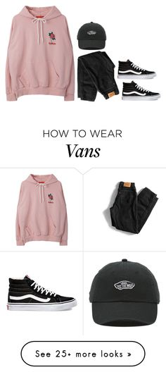 """""""Pink-black"""" by mireillersh325 on Polyvore featuring Levi's and Vans"""
