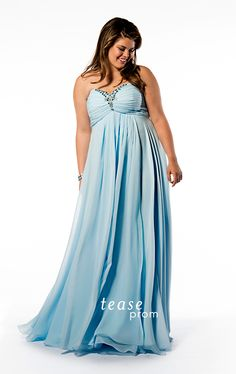 You'll be the belle of the #ball wearing this baby blue plus size dress to #Prom 2015. Pretty pastels are all the rage! Flattering Empire waist on beaded chiffon gown. Sold in sizes 14 to 32