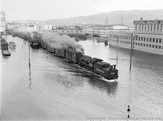 Portland flood, with switching trains operating near the Burnside Bridge. May 30, 1948